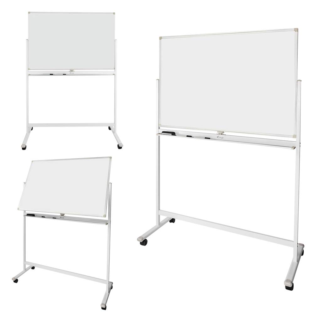 ShowMaven 48x32 Inch by 6 Feet Height Mobile Whiteboard Freestanding, Double-Side Magnetic Dry Erase Board Stand, Rolling Chalkboard, 4 Wheels with ...