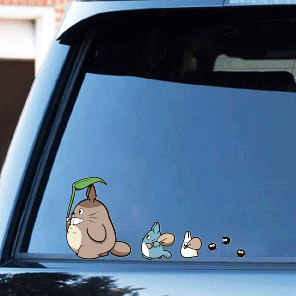"Ewdsqs My Neighbor Totoro Vinyl Decal Studio Ghibli Car Windows Stickers Laptop Vinyl Sticker Decal (Set of 2, 5"" X 11"")"