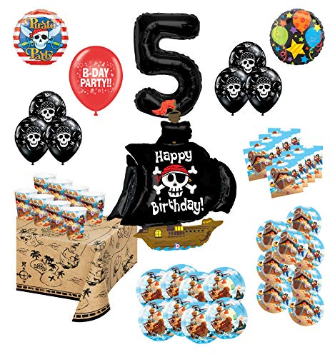 Mayflower Products Pirate Party Supplies 5th Birthday 8 Guest Decoration Kit and Balloon Bouquet (Pirate Balloon Bouquet)
