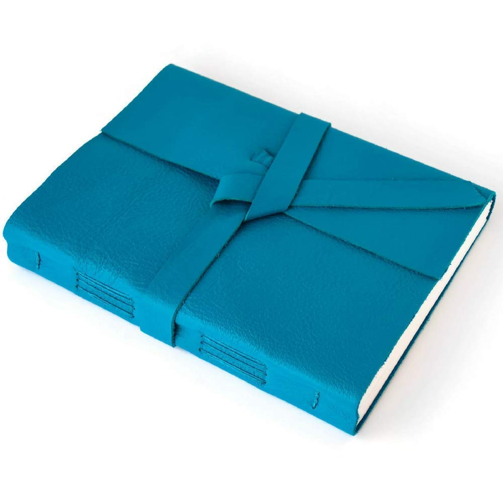 Teal Blue Leather-bound Journal, Colorful Inspiration Mindfulness Journal for Writing, Lined Pages, Handmade in USA