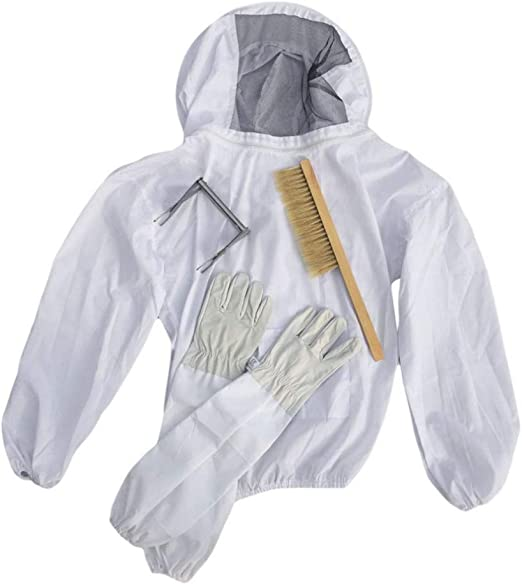 Beekeeping Protective Suit Beekeeper Bee Jacket Veil with Gloves and Hive Brush
