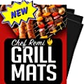 Chef Remi Grill Mat - Lifetime Guarantee - Set Of 3 Heavy Duty, Non-Stick Grilling Mats - 16 x 13 Inch - Use on Gas, Charcoal, Electric BBQ Grills - Made With USA Raw Materials - Rated #1 New Release