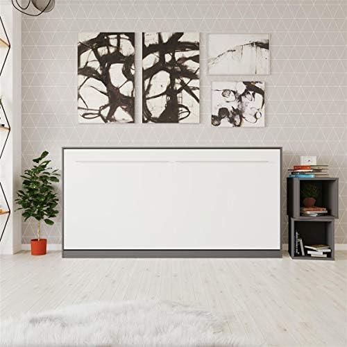SMARTBett Standard Cama abatible Cama Plegable Cama de Pared (Antracita/Blanco, 90 x 200 cm Horizontal): Amazon.es: Hogar