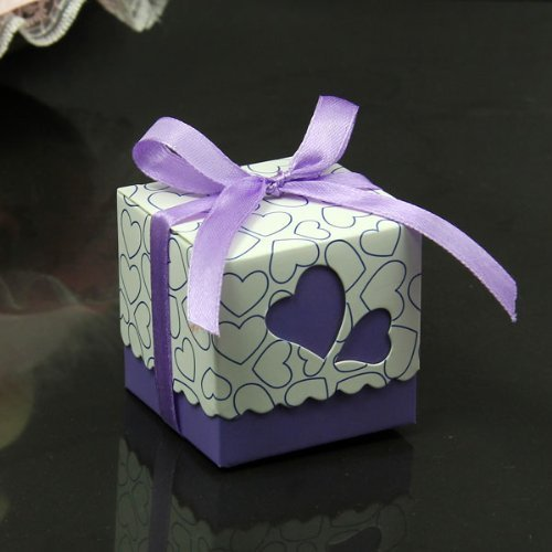 Kubert NEW Hollow Out Love Heart Bowknot Pattern Die Cut DIY Square Wedding Bridal Favor Candy Gift Boxes Box Wedding Party Decoration Kit 50pcs Wedding Favor Dress & Tuxedo Bride and Candy Box Decoration Candy Boxes - Including Satin Ribbon (Purple)