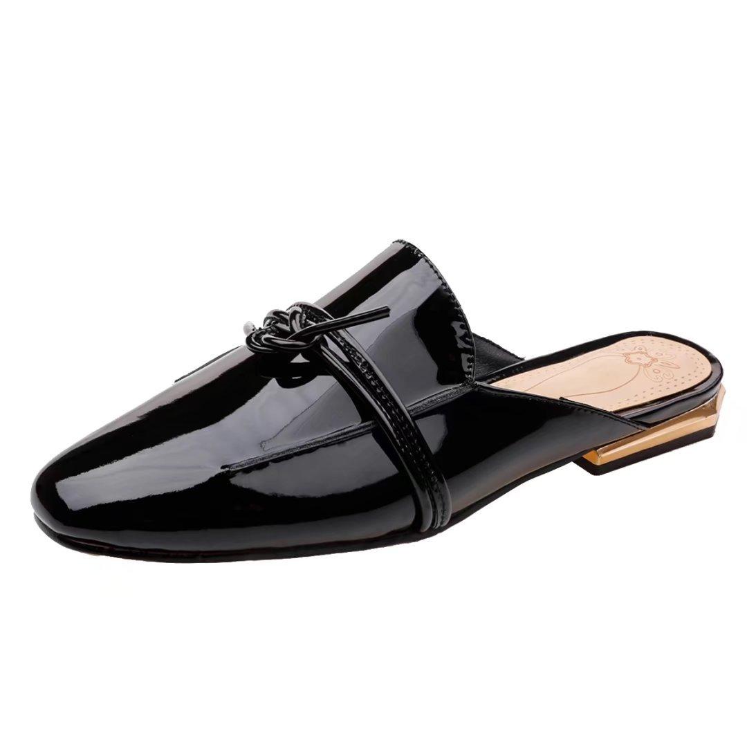 JYshoes Destalonada de Piel Lisa Mujer 34 EU|Schwarz(Lackleder)