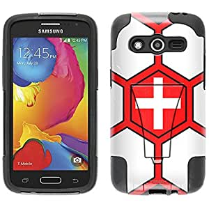Samsung Galaxy Avant Hybrid Case Soccer Ball Switzerland Flag 2 Piece Style Silicone Case Cover with Stand for Samsung Galaxy Avant