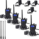 Retevis RT5 2 Way radios UHF/VHF Dual Band Walkie Talkies Scan VOX FM Radio Transceiver Ham Radio with Earpiece and Speaker Mics(4 Pack)