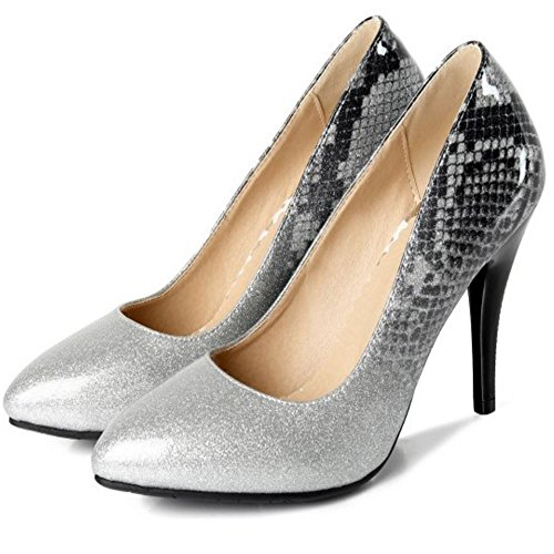 Pumps Heel Fashion 2 Silver High Women TAOFFEN wO4fTqgIRR