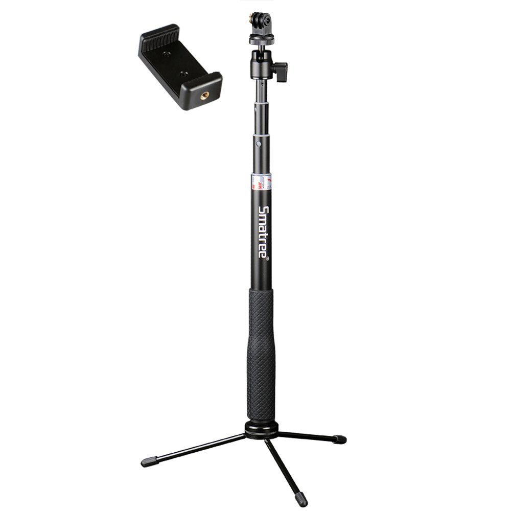 Smatree Q3 Telescoping Selfie Stick with Tripod Stand for GoPro Hero Fusion/6/5/4/3+/3/2/1/Session/GOPRO HERO (2018)/Action Cameras, Ricoh Theta S/V, M15 Cameras, Compact Cameras and Cell Phones