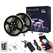 #LightningDeal RC LED Strip Lights IP65 Waterproof SMD5050 RGB WiFi Wireless LED Controller 24Key IR Remote Works with Android,iOS System,Alexa,IFTTT and Google Assistant