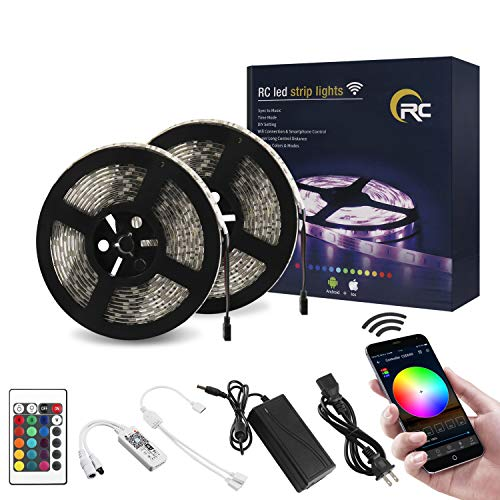 RC WiFi Wireless LED Strip Lights, Color Changing 32.8ft IP65 Waterproof Flexible Light Strips SMD5050 300LEDs with RGB Smart Controller 24Key IR Remote, Works with Android, iOS, Alexa, Siri, IFTTT -