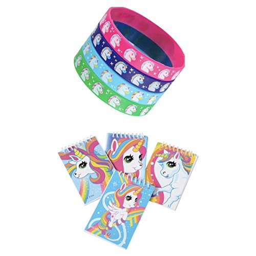 24 Pretty UNICORN Party Favors -12 Mini NOTEBOOKS & 12 Rubber BRACELETS - Birthday Parties GIRL Prizes CLASSROOM Teacher