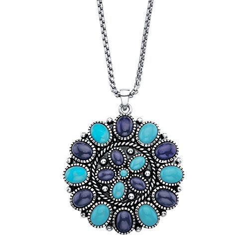 Simulated Blue Turquoise and Blue Lapis Antiqued Silvertone Pendant Necklace 18