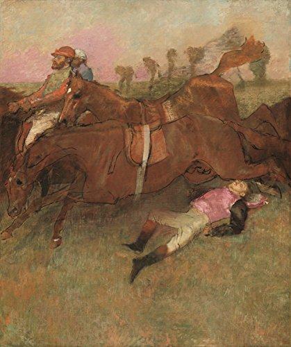 Scene from the Steeplechase: The Fallen Jockey - Masterpiece Classic - Artist: Edgar Degas c. 1866 (12x18 Art Print, Wall Decor Travel Poster)