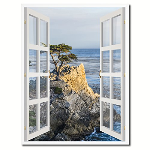 Monterey Beach View Picture French Window Art Framed Print on Canvas Office Wall Home Decor Collection Gift Ideas, 28