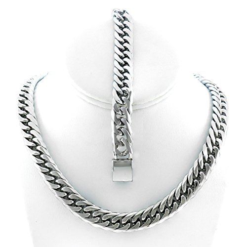 tainless Steel 13mm Thick Miami Cuban Link Chain Necklace & Bracelet Set 24'' (24' Necklace Silver Set)