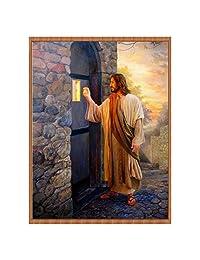 Shuohu Jesus Knocks on The Door Diamond Painting, 5D DIY Full Resin Diamond Painting Embroidery Cross Stitch Craft Home Decor Art