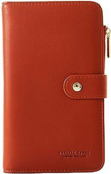 Damen Mode Knopf Geldbörse Lang Portemonnaie Phone Kartenfach Handtasche Clutch