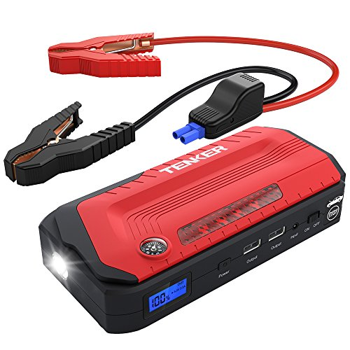 TENKER 800A Peak 18,000mAh Portable Car Jump Starter (up to 6.5L gas/5.5L diesel engines), Battery Booster, Phone Charger with LED Flashlight and Dual USB Ports