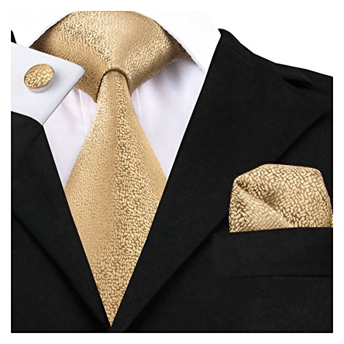 Dubulle Mens Ties Set Silk Ties Handkerchief Cufflinks Set Solid Color Necktie with Pocket Square Gold Yellow Plain Color (Solid Gold Cufflinks)