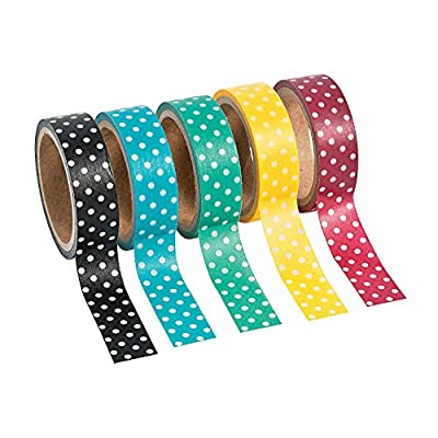 Fun Express - Polka Dot Washi Tape - Craft Supplies - Scrapbooking Embellishments - Stickers - 5 Pieces from Oriental Trading Company