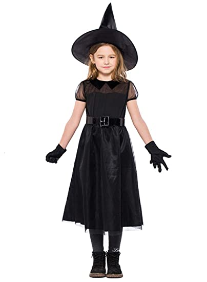 Amazon Allaibb Girl Classic Witch Costume Black Dress Cosplay