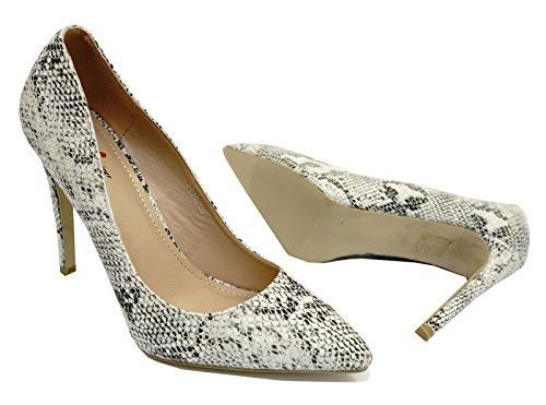 On Snake Stiletto White 3 Work Sizes High Heel Shoes Slip 8 Court Smart Ladies Black a0ngxwqE