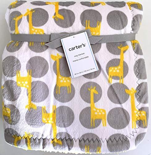 Carter's Cozy Yellow/Gray Giraffe Polyester Baby Blanket | 40 X 30 in]()