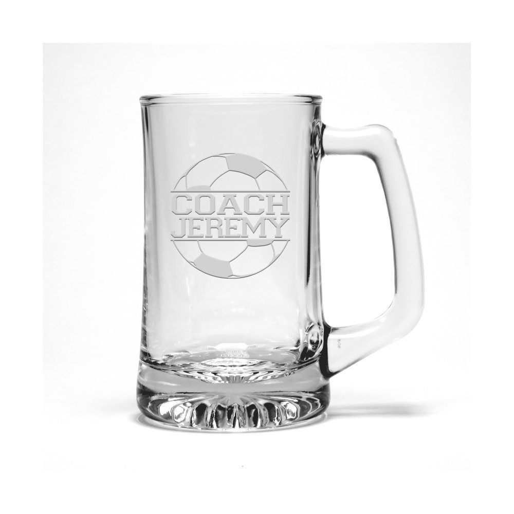 Personalized Soccer Coach Etched Beer Mug - Sports Beer Glass