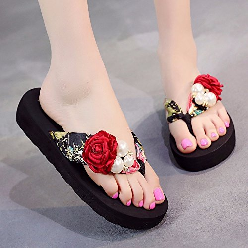 flower thick character Slippers Korean XZ women towing human Black LIUXINDA bottom fashion Edition British fashion Red summer fRPRwFnq
