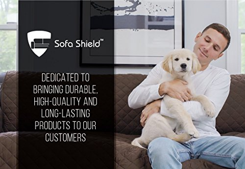 """Sofa Shield Original Reversible Couch Slipcover Furniture Protector, Seat Width Up to 70"""", 2 Inch Strap, Machine Washable, Slip Cover Throw for Pets, Dogs, Kids (Sofa: Chocolate/Beige)"""
