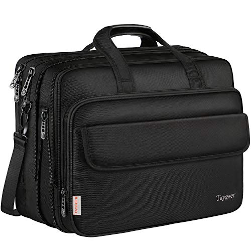 """17 Inch Laptop Bag, Expandable Large briefcases for Men Women, Business Travel Bag, Taygeer Water Resitant Computer Messenger Shoulder Bags, Carry On Handle Attache Fit up 17"""" Notebook, Black"""