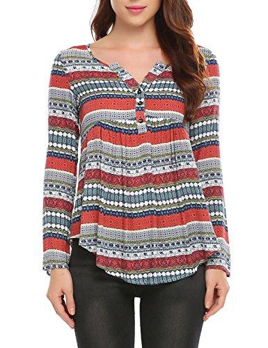 SE MIU Women's Floral Shirt Long Sleeve Blouse Button Up Swing - Miu Clothing Miu Sale