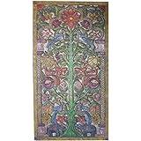 Antique Hand Carved Floral Garden Door Panel KALPAVRIKSHA TREE OF Dreams Wood Carving Sculpture