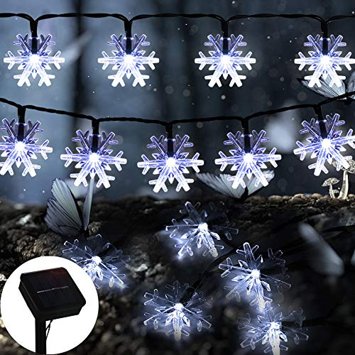 ZALALOVA Valentine's Day String Lights, 22.96FT 50 LEDs Snowflake String Lights Romantic Decoration Fairy Light Solar Powered 8 Modes Xmas Tree Decoration for Indoor Outdoor Garden Party Decor for $<!--$21.99-->