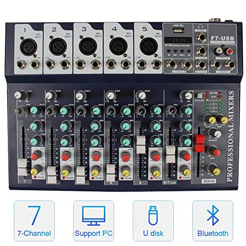 Professional Wireless DJ Audio Mixer ALPOWL Sound Board Console Desk System, 7-Channel Digital Mixer for PC MP3 USB Bluetooth Input 48V Phantom Power Stereo DJ Studio Ideal for Clubs, Bars, Parties