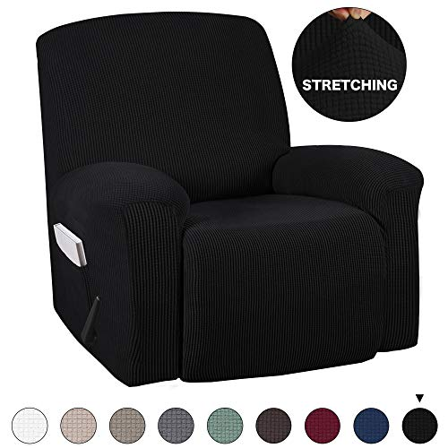 Turquoize One Piece Stretch Recliner Chair Cover Furniture Slipcovers with Remote Pocket Sofa Cover Furniture Protector for Recliner Stretch Cover with Elastic Bottom (Recliner, Black)