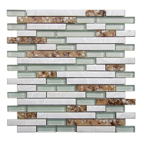 - Art3d 5-Pieces Decorative Glass Tile Geniune Shell and Conch Mosaic Tile for Kitchen Backsplashes