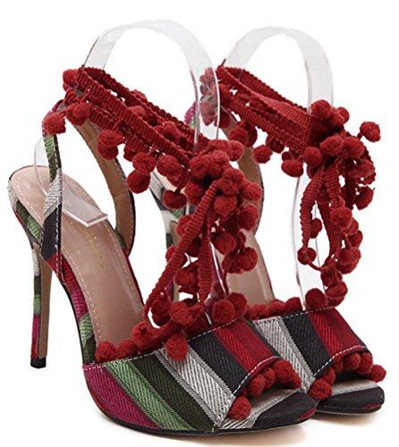 Aisun Damen Schick Mode Peep Toe Pompon Lace Up Römersandalen Pumps Rot
