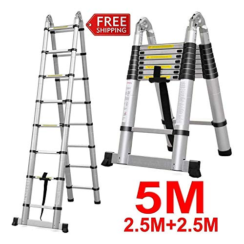 5m (2.5m+2.5m) 16.4ft Extension A-Frame Ladder Multi-Purpose Telescopic Ladder US Stock, 5 Year Warranty