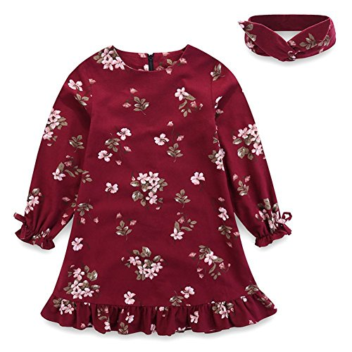 Comfybuy Baby Teen Girls Casual Floral Princess Dress Headband Set Long Sleeves Claret 1-2T