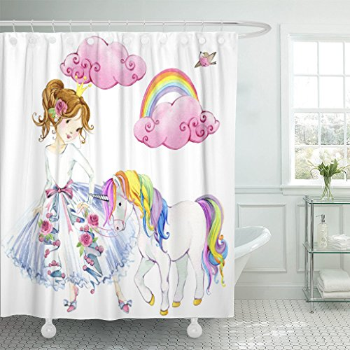 TOMPOP Shower Curtain Colorful Girl Princess Watercolor Unicorn Pink Cute Dream Little Waterproof Polyester Fabric 60 x 72 Inches Set with Hooks]()