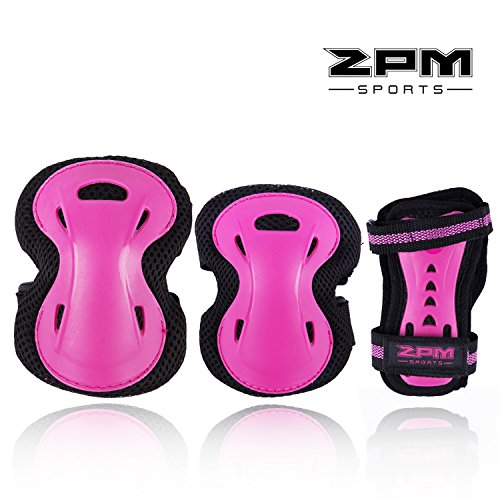 2PM SPORTS Girls Pink Protective Gear Set - Knee Pads Elbow Pads and Wrist Guards for Kids Rollerblades Skateboarding, Inline Roller Skating, Cycling, Balance Bikes, and Scooters - Medium