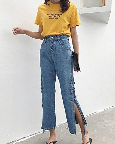 Denim Up Ourlet Taille Jean Haute Avec En Bleu Pantalons Large Fonc Femme Lacets Push pwSBA