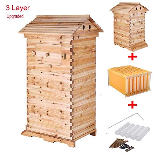 3 Layer Honey Flow Bee Hive Nature Wood Beehive Box+7Pcs Auto Flow Honey Beehive Frame Honey Harvesting Tubes - Harvest Key for Beekeepers Food Grade BPA Free