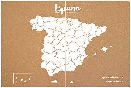 Miss Wood Mapa de España de Corcho, Pino, Blanco, XXL-90x120cm ...