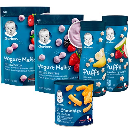 Gerber Up Age Snacks Variety Pack – Puffs, Yogurt Melts & Lil Crunchies, 9Count