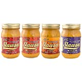 Slawsa All-Natural Gluten-Free The Gourmet Topping for Everything Certified Kosher Variety - Original, Spicy, Garlic, and Fire 16 oz 4 pack