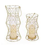 Deco De Ville Contemporary Urban Minimalist Design Tealight Jar Candle Holder Sleeve Lantern, Golden Finish, Set of 2
