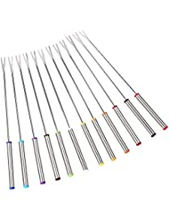 """Set of 12 Stainless Steel Fondue Forks 9.5"""" - Color Coding Cheese Fondue Forks with Heat Resistant Handle for Chocolate Fountain Cheese Fondue Roast Marshmallows by Sago Brothers"""